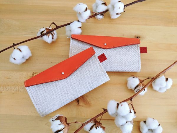 Orange and nude long leather wallet