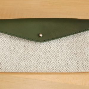 Green and grey leather wallet