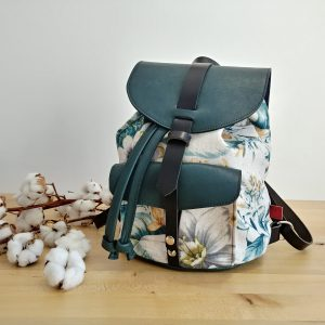 teal leather backpack vintage style