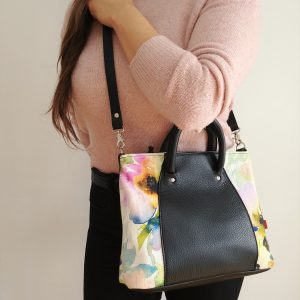 black leather handbag with strap