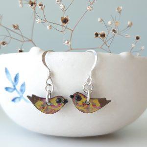 Mini Bird Earrings Handmade by Amanda Cope Wood and Sterling Silver