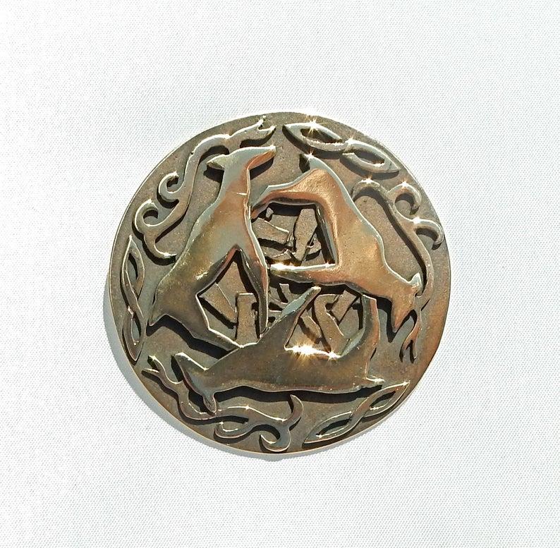 Celtic Reindeer Circle Brooch or Pendant