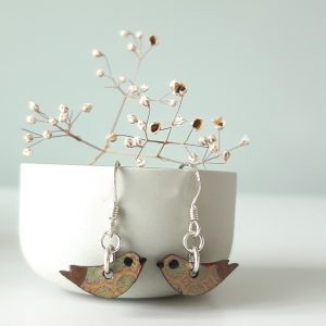 Bird Earring Handmade Wood and Sterling Silver, MarMoo by Amanda Cope