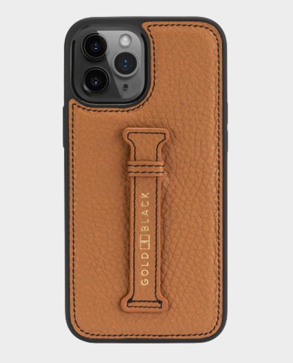 Gold black iphone 12 12 pro finger holder case nappa brown 1