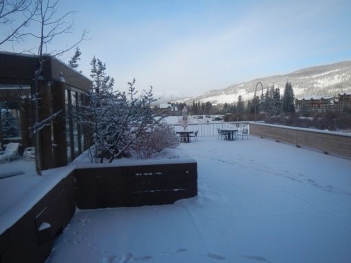 Fresh snow outside our Slopeside Condo