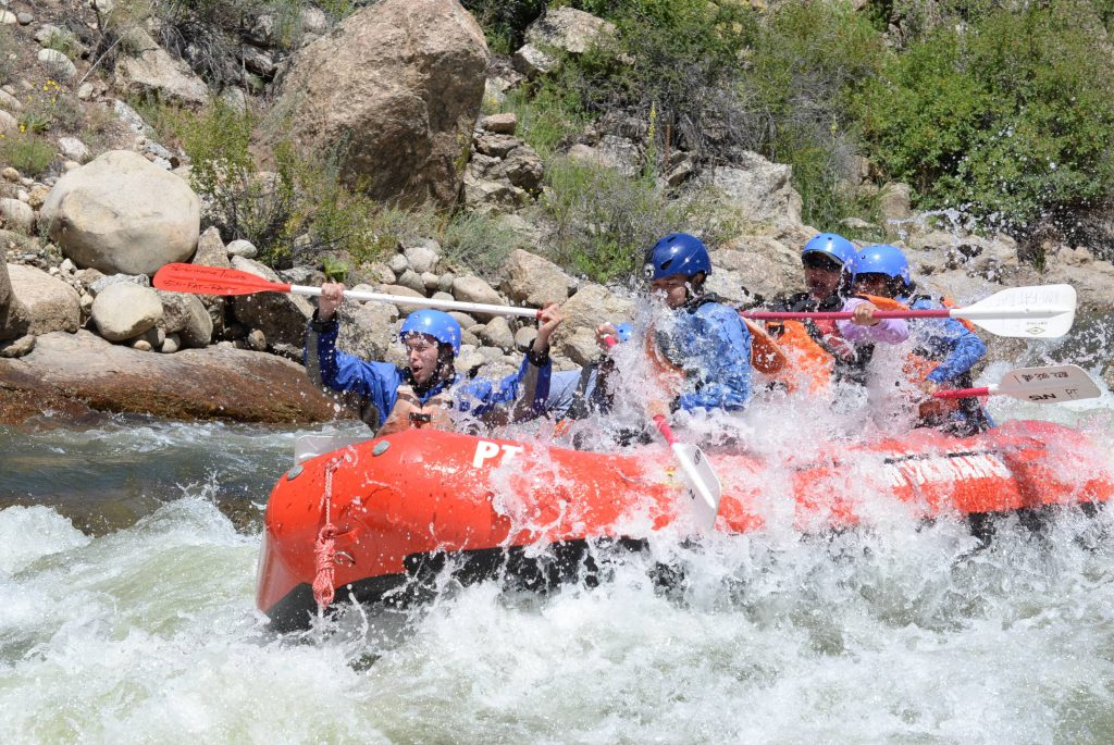 Rafting Boat Heading through Colorado Whitewater