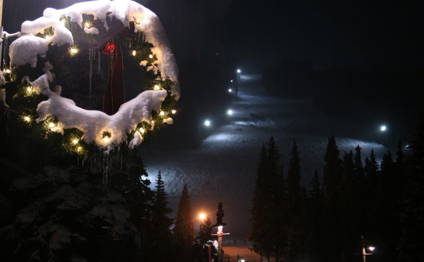 Snowy Holiday Wreath and Lighted Ski Slopes at Keystone