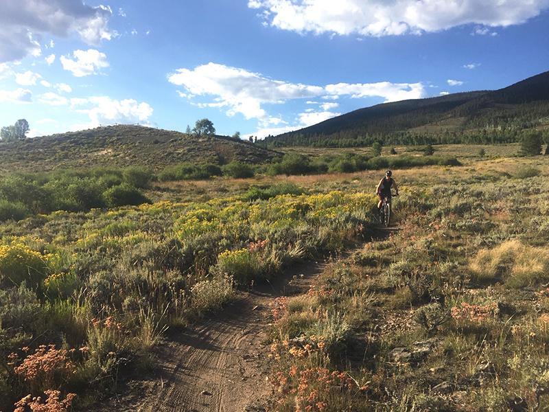 Mountain Biker Having Fun On Dirt Trail Keystone CO