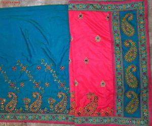 half-half concept cut-pest box-pallu saree