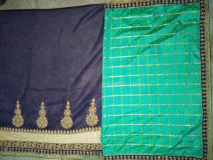 half-half concept patli-pallu cut-peast saree