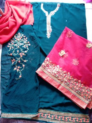 neck with daman dress with dupatta
