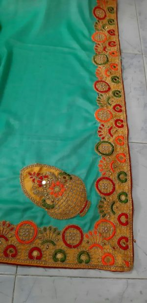 patch concept cut-peast saree