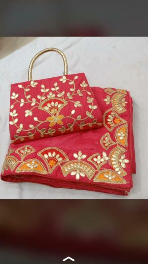 paper work boder concept packing saree with purse