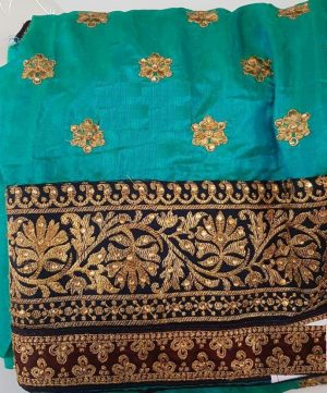 single jari  cut-peast saree