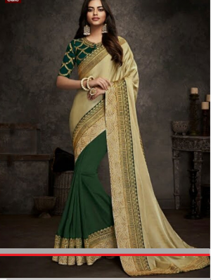 Art Silk Half N Half Saree Design