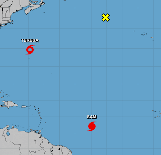 Subtropical Storm Teresa Joins Hurricane Sam in the Atlantic Basin. Sam Still Far Away and Much Can Change. Stay Tuned.