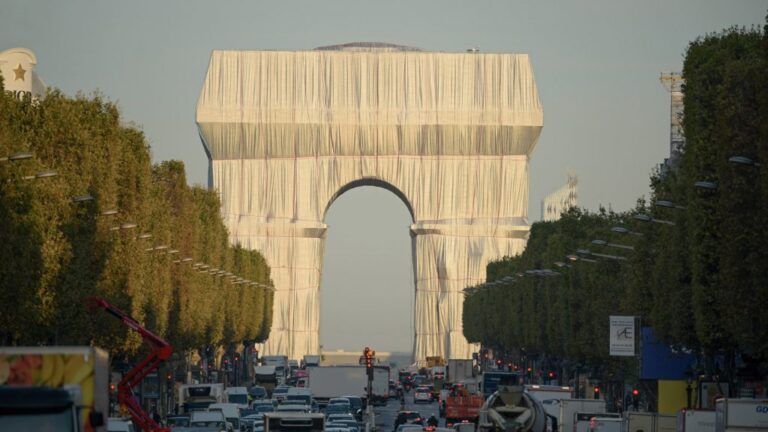 Christo and Jeanne-Claude's Arc de Triomphe installation nears completion