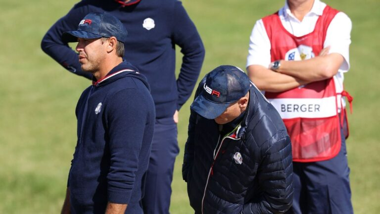 Brooks Koepka has strong words for Ryder Cup rules officials during Saturday's foursome match