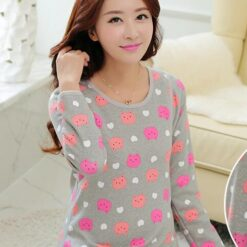 Pregnant women's autumn clothes and trousers suit, plush and warm underwear, autumn and winter clothing, feeding breast and lactation pajamas