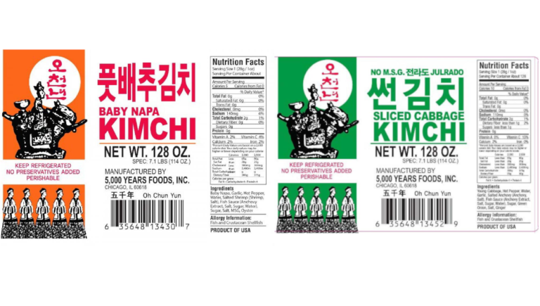 FDA sampling finds Listeria, leads to nationwide Kimchi recall