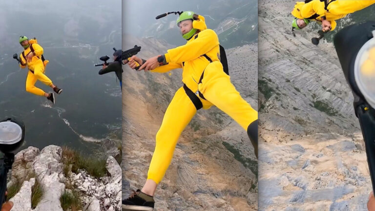 VIDEO: BASE Jumpers Engage in Midair Paintball Battle