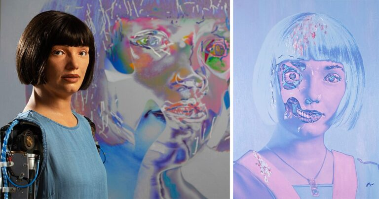 interview with the creator of Ai-Da, the life-size humanoid robot artist making self-portraits without a self