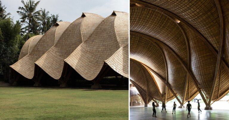 draping roof tops intricatebamboo structure by IBUKU for green school in bali, indonesia