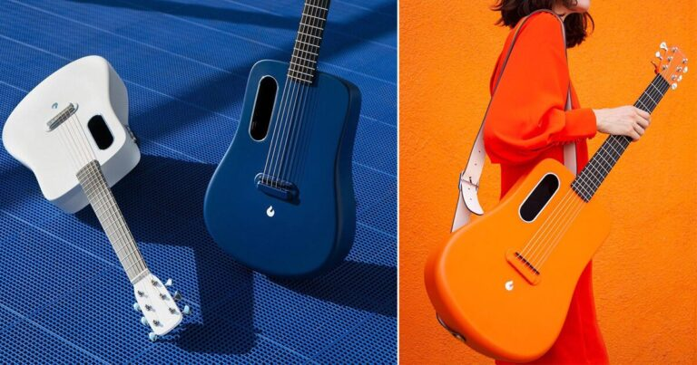 'LAVA ME 2' is a weatherproof carbon fiber guitar with a built-in preamp system