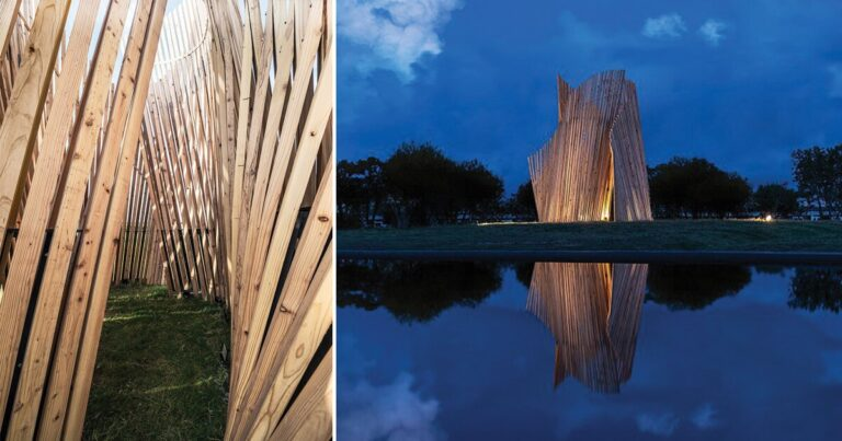 'between waves' is a wooden installation that brings a vibrant spatial experience to taiwanese nature