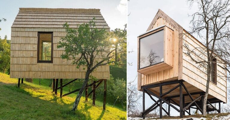 wood + shingle tiny hut built by romanian volunteers encourages locals to immerse in nature