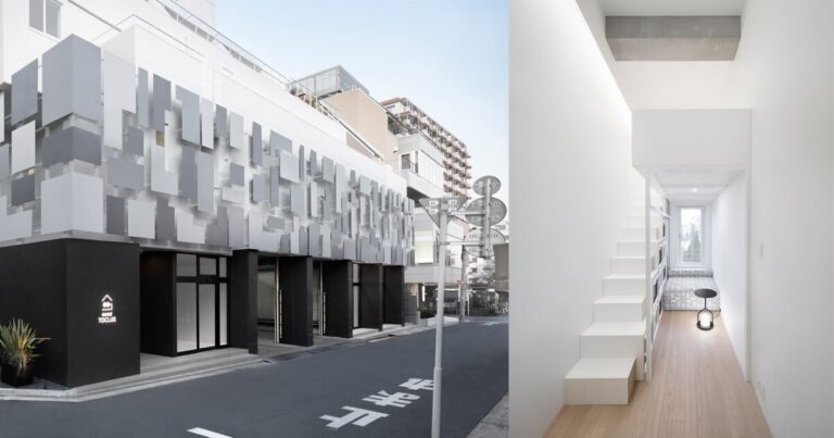 nendo transforms commercial facility into shared housing with geometric facade in tokyo