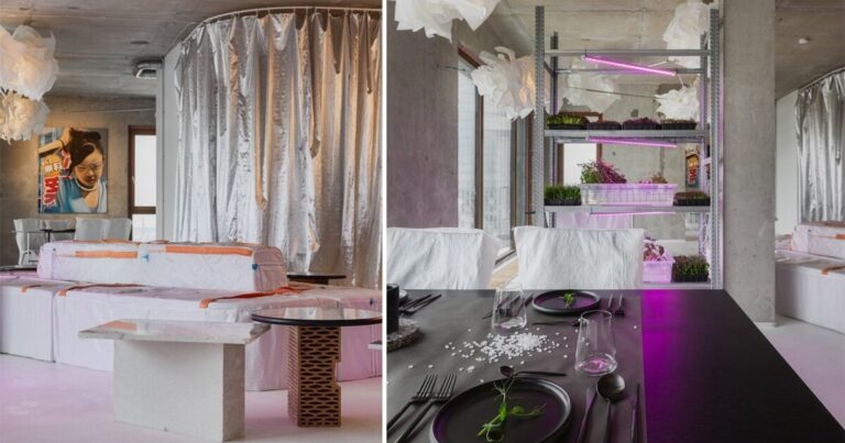 open AD upcycles material offcuts & leftovers to form pop-up restaurant interior in latvia