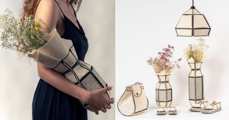 stav raguan creates objects with canvas scraps, 3D printer + clothing iron