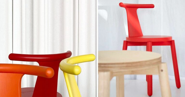 viva chair appears as a fun pop of color around the kitchen table