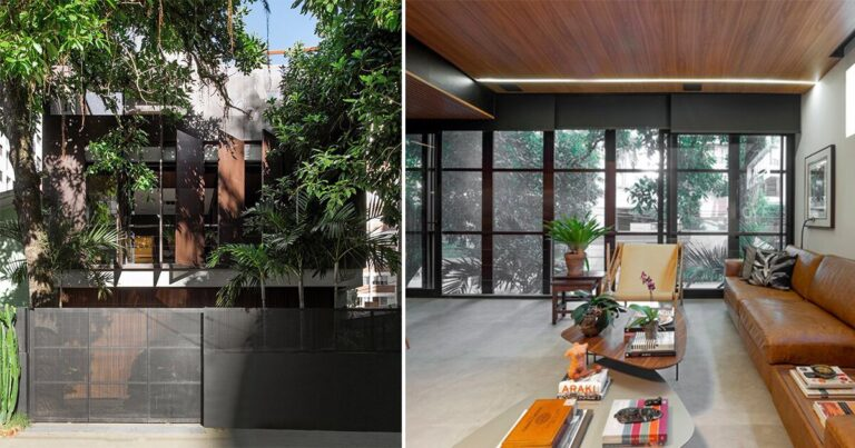 vertical screens clad pimont arquitetura's house in brazil to achieve privacy