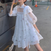 One-shoulder printed lace dress