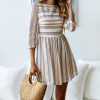 Printed striped round neck mid-sleeve dress