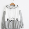 Cute cat stitching hooded sweater