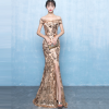 Fashion sexy word shoulder host party long Qitail fishtail dress