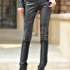 Large size female tight PU stitching leather pants stretch feet pencil pants were thin