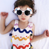 Colorful wave pattern bow conjoined girl swimsuit swimsuit cap