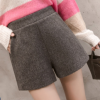 Korean version of high waist woolen shorts autumn and winter large size was thin a word wide leg pants female students wild casual pants