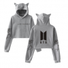 2020 women's autumn and winter clothing btsLOVE YOURSELF turn around the cat ears ear umbilical cute sweater hooded
