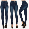 Europe and the United States Ebay explosion models WISH spring women's high waist and more buttonholes Slim stretch large size feet jeans women