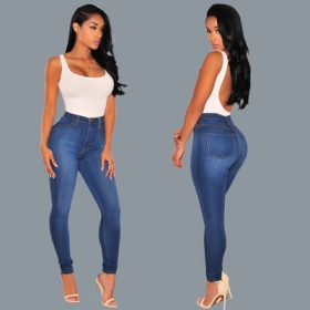 Best Europe and the United States Fan Slim solid color hips stretch thin fashion knee hole jeans