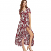 New Bohemian vintage ethnic style Floral holiday style V-neck loose long dress Long skirt