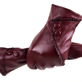 women PU gloves with lace and button
