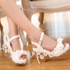 Flower bow wedge with high heel platform shoes