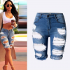 High waist personality, hole, middle pants, street fashion, the same paragraph, wild slim stretch pants, large size