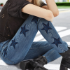Europe and the United States hot explosions embroidered stars pattern women's denim women's slim stretch pencil pants